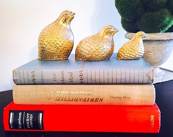 Vintage Brass 3 Little Birds. Chic Bookshelf Decor!