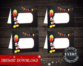 Mickey Mouse Tent Cards, Mickey Mouse Place Cards, Mickey Mouse Folded Cards