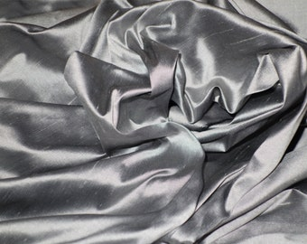 "Pure Silk Dupion Shantung in SILVER, GREY, PLATINUM yarn dyed shot fabric by the metre 137 cm (54"") wide"