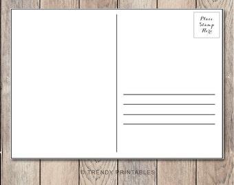 Post Card Back, Post Card, Printable Post Card, Bridal Shower Invitation, Birthday Party Invitation, Party Invitations, Baby Shower Invites