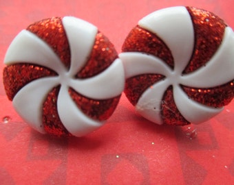 peppermint earrings-clip on earrings-Christmas earrings-Holiday earrings-winter jewelry-kids clip on earrings-peppermint candy studs-teen
