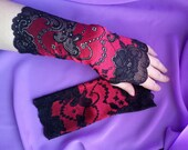 Black and Red Lace Fingerless Gloves  / Burlesque / Gothic / Steampunk / Caberet / Bohemian / Elegant / Romantic / Vintage / Victorian