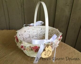 Flower girl basket/ shabby chic flower girl basket/ wedding basket for flower girl/ vintage basket/ rustic wedding basket/ rustic wedding