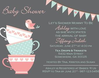 Tea Party Baby Girl Shower Invitation