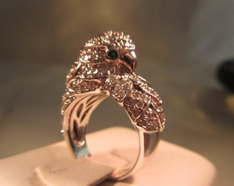 Sterling Silver CZ and Green Gemstone Snow Owl Ring - size 5.5