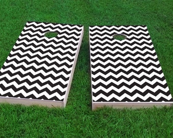 Black Chevron Pattern Themed Light Weight (1x4) Regulation Size Custom Cornhole Board Game Set - Corn Hole - Bag Toss