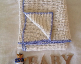 Blue and Cream Pure Australian Merino Wool Knitted Baby Cot Blanket.