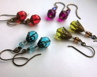 Red Earrings/ Red Czech Glass and Antiqued Brass Earrings/ Stocking Stuffers/ Red Drop Earrings