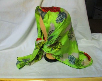 Beautiful Carnation Scarf Bright Apple Green with Coral grey and yellow flowers 32x32