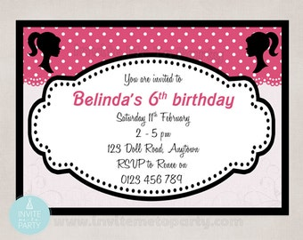Doll Silhouette Party Invitation