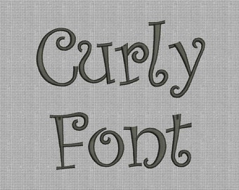 Curly Font Machine Embroidery Designs 3 Size Bx Embroidery Fonts - INSTANT DOWNLOAD