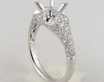 Premium Quality Semi Mount Diamond Engagement Ring Setting 14K White Gold 0.69 CT