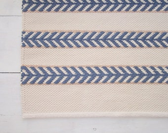 Area Rug 5x8, Ivory, Blue, Beige Cotton Rug, Scandinavian Design Rug, Handmade, Double Sided, Woven on the Loom, Made to Order