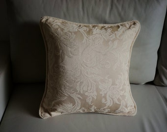 Ivory pillow cover cream Embroidered throw pillow embroidered cushion cover twisted fringe damask Decorative pillow with fringe