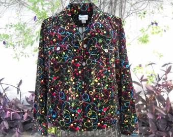 Velvety Corduroy 4th of July Fireworks jacket, by Christopher Banks, Size Large, Rivet buttons, hip pockets, Cotton and Spandex, Black