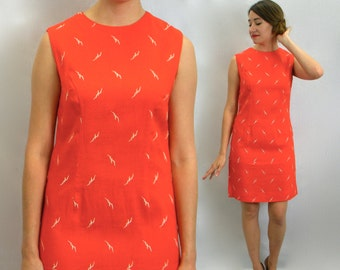 60s Orange Linen Shift Dress | Embroidered Linen Dress | Abercrombie & Fitch | Small