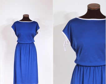 Vintage 70s Royal Blue and White Day Dress M