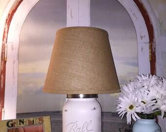 Impressive Gallon Size Mason Jar Lamp Distressed In Warm White w/ Burlap Shade, rustic, cottage chic, beach cottage, home decor, lighting