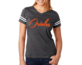 ORIOLES Football Style Fine Jersey Womens V Neck Baseball Shirt S M L XL XXL