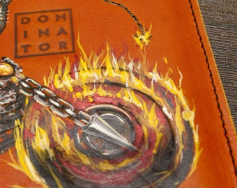 Leather Case for iPad, iPad case, handmade pouch iPad, custom case iPad with Harley Davidson print