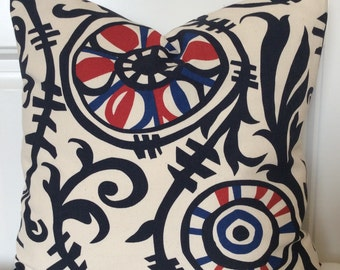 18x18 Tribal Americana Pillow,Red White and Blue Cushion, Java Print Toss pillow, Independence Day Accent