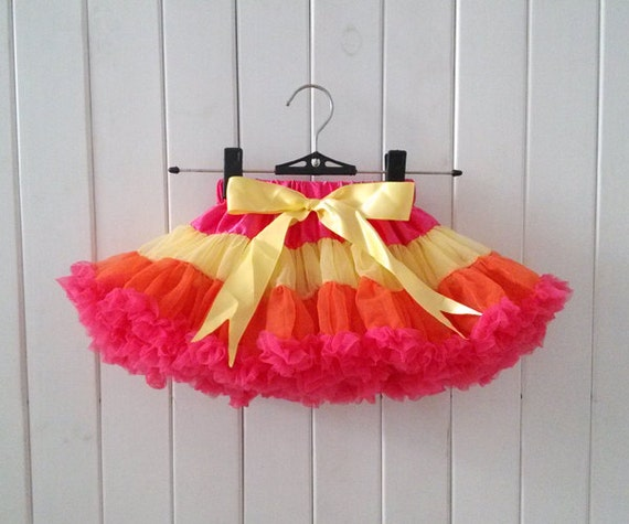 Hot Pink/Yellow/Orange Pettiskirts-Baby By Babycutelovely