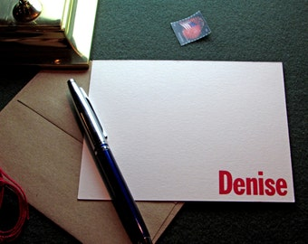 Custom Letterpress Stationery - 10 Personalized Notecards - Franklin Gothic Condensed