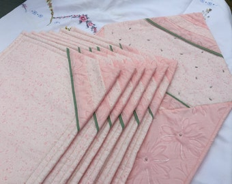 Patchwork Table Runner Six Table Mats for a Dinning Table Soft Pink With Beads Pieced With Green Piping, tinch of green triangles Ideal Gift