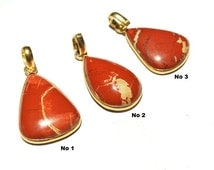 Gold Plated Red Jasper Pear Shape Pendant 50x22 - 51x26mm Single Loop Cabochon Pendant Bezel Set Gemstone Pendant SKU1121