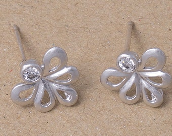 Wedding Jewelry Cubic Earrings, 925 Silver Post, Earring Making, Matte Rhodium Plated Over Brass- 2 Pieces-[AE0022]-MR