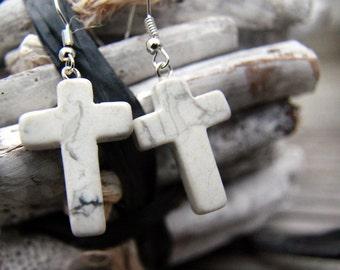 White Howlite Cross Earrings