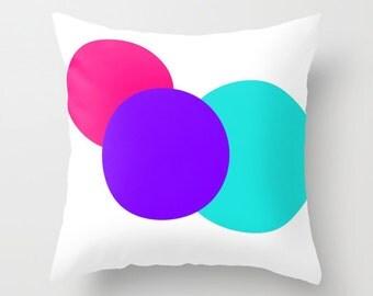 Pillow Cover, Throw Pillow,  Pink Purple Turquoise White Circles Pillow, Geometric Pillow, Modern Pillow, Bedroom Decor, Office Decor
