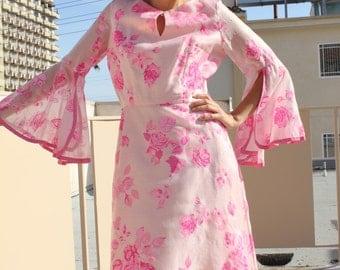 Shaheen Pink Floral Vintage Dress