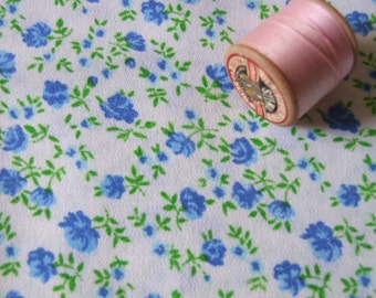 vintage, ditsy blue rosebud dressmaking fabric yardage
