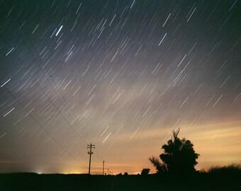 "Star Trails - Night Photography - Photo Art Print - Wall Art - Dreamy - Landscape Photograph - Blue - Orange - ""Starry Starry Night"""