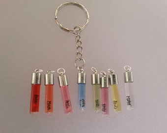 Personalized name on rice glass vial key chain