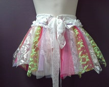 GIRLS TUTU FAIRY skirt, shabby pixie tutu belt, white green purple gold pink, lace belt, soft tulle, 6 7 8 year old, lace ties, flowers