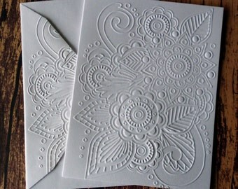 Henna Cards, Set of 5, Embossed Henna Greeting Cards, Flower Stationery Set, White Embossed Note Cards, Blank Note Cards, Gift for Her