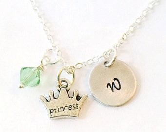 Princess Necklace, Princess Crown Necklace, Little Girl Necklace, Princess Jewelry, Princess Party Favor