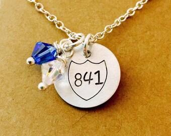 Police Badge Necklace, Police Officer Necklace, Hand Stamped Police Necklace, Badge Number Cop Necklace, Shield Necklace, Police Wife