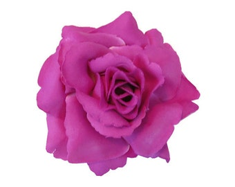 Was 8 now 5** Magenta Single Rose Hairclip