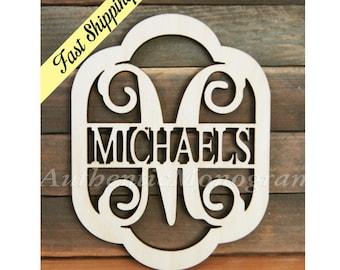 Family Name Monogram Wooden Unpainted - Vine Script Monogram - Home Decor - Wedding Decor - Initial Family Name