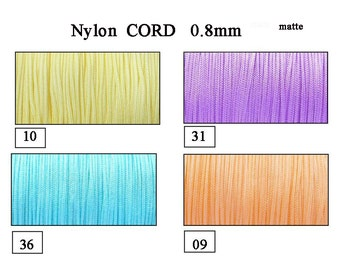0.8mm Nylon Cord, exclusive cord,  Shamballa, Micro Macrame, Kumihimo,  yellow, lilac, bisque, aqua