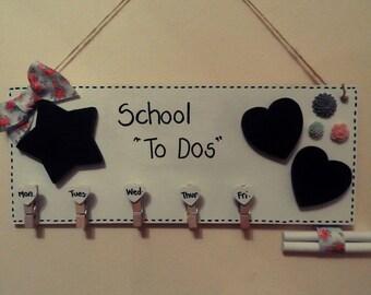 """Wooden Plaque Memo Board """"School To Dos"""" or Artwork"""