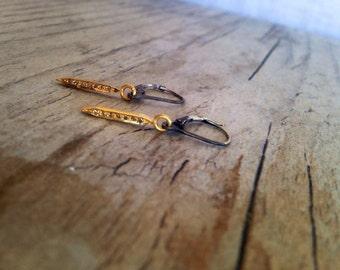 mini HADLEY diamond spike leverback earrings