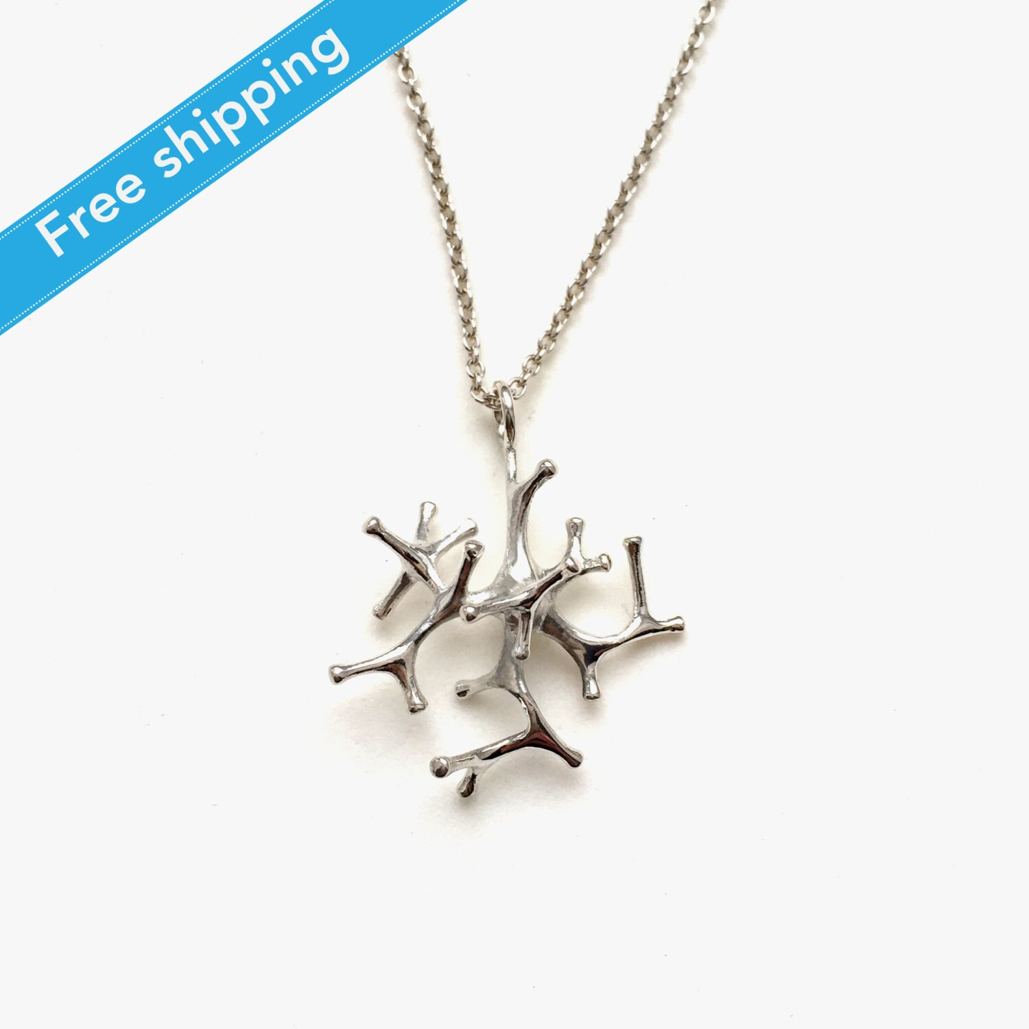 Science Jewelry: Silver Astrocyte Necklace 3D By