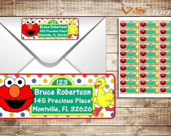 Sesame Street return Address Labels, Personalized Printable PDF