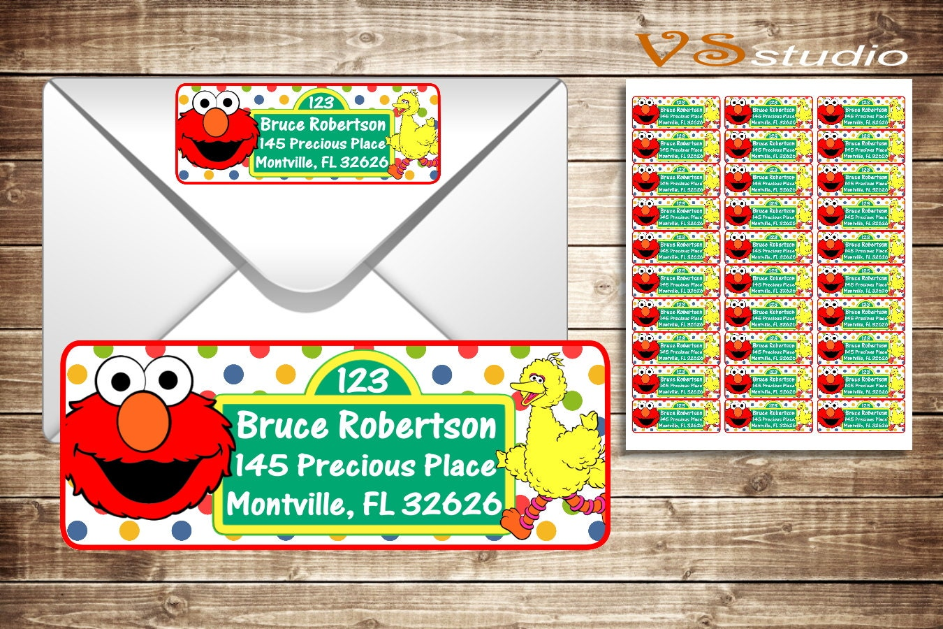 It is a photo of Current Sesame Street Return Address Labels