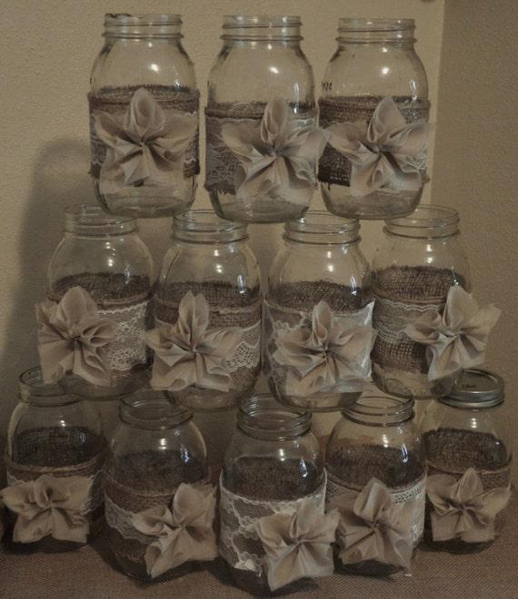 Rustic Jars For Wedding: 12 Rustic Burlap Mason Jar Wedding DecorationsWedding