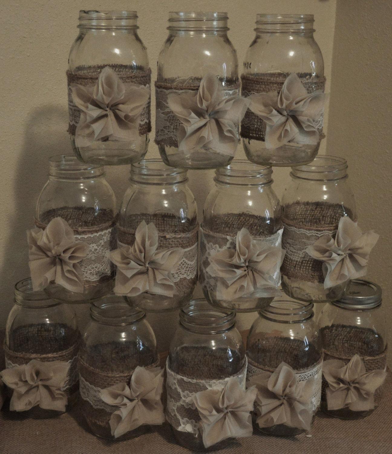 Rustic Jars For Wedding: 12 Rustic Burlap Mason Jar Wedding DecorationsWedding